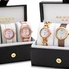 Akribos XXIV Women's Quartz Diamonds Bracelet/Strap Watches Gift Set