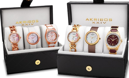 Akribos XXIV Women's Quartz Diamonds Bracelet/Strap Watches Gift Set