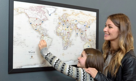 USA, World or Canada Magnetic-Pin Travel Map with Bonus 20 Pins