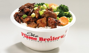 The Flame Broiler The Rice Bowl King: $12 for Two Groupons Each Good for $10 Worth of Rice Bowls & Plates at The Flame Broiler The Rice Bowl King