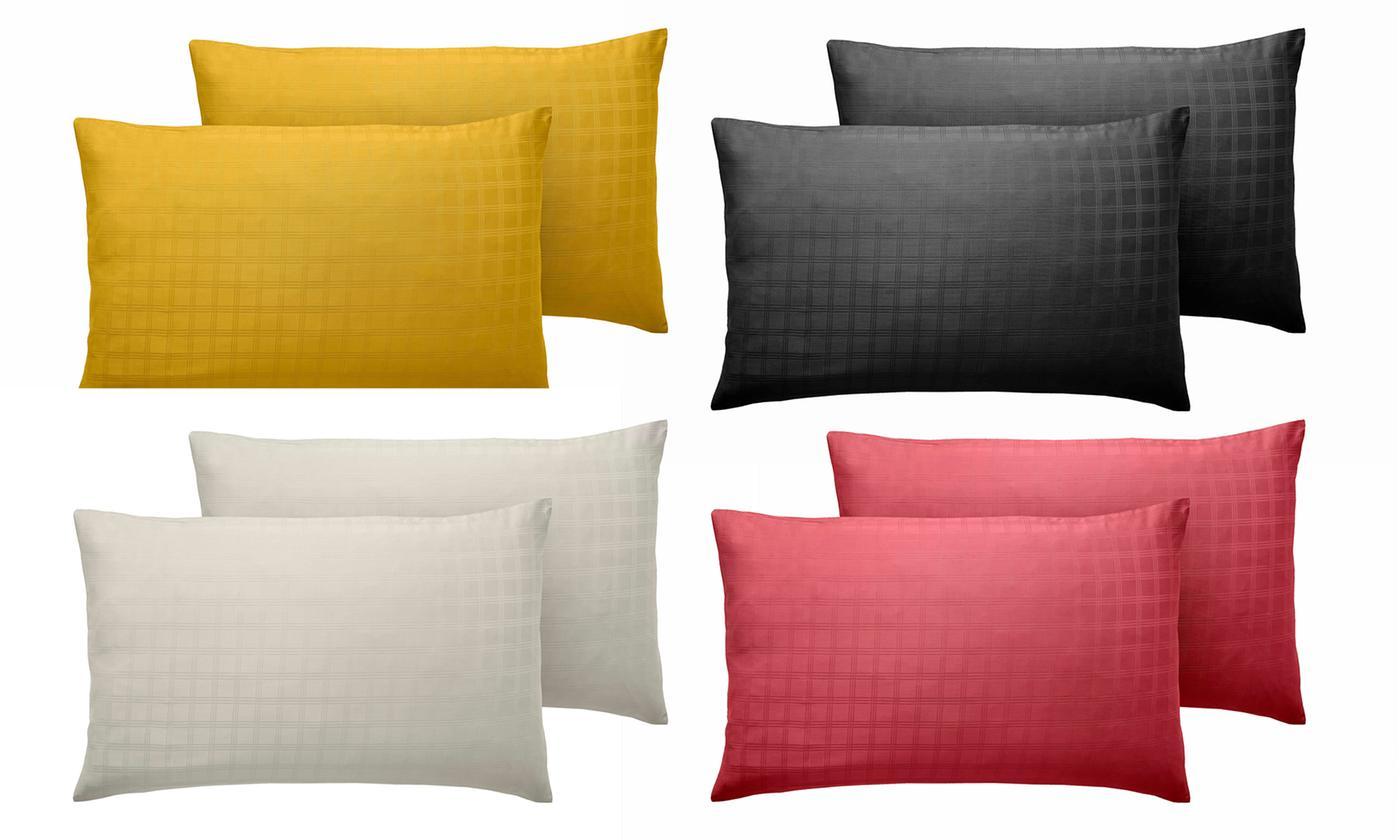 Two Cotton Satin Check Pillowcases