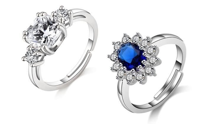 Philip Jones Silver Meghan Replica Ring with Crystals from Swarovski® YDRMjU1
