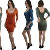 Women's 3/4-Sleeve Scoop-Neck Bodycon Mini-Dress