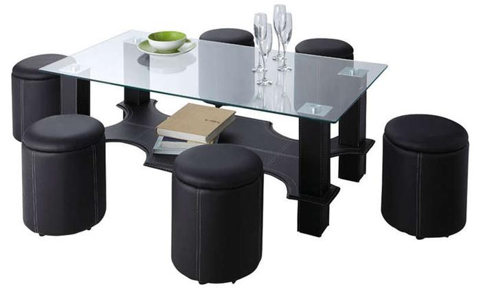 Table basse et 6 poufs encastrables groupon - Table basse encastrable ...