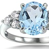 Blue and White Topaz Oval Ring in Sterling Silver (Sizes 5 & 6)