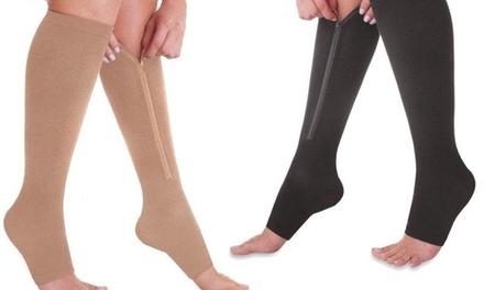 1, 2 ou 4 paires de bas de compression, noir ou nude, apaisent les jambes et les pieds