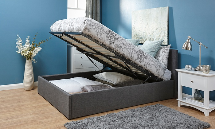 Kingsley Fabric Ottoman Bedframe with End or Side Lift and Optional Mattress