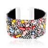 Leather Bracelet with Multi Colored Swarovski Elements