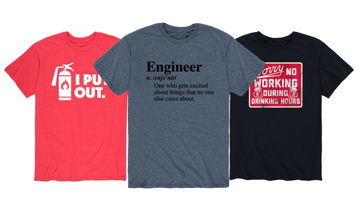 up to 57 off on men s humorous work life tee groupon goods
