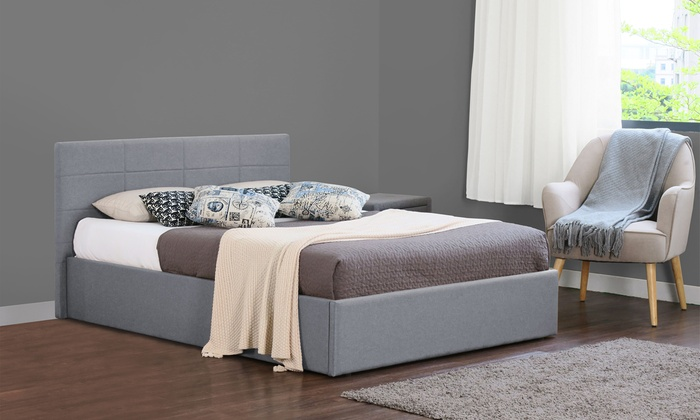 Fabric Ottoman Bed Frame with Optional Mattress in Choice of Colour and Size