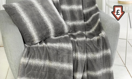 TwoPack Clearance Winter Faux Fur Throws or Filled Cushion Covers in Choice of Style for £17.99