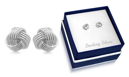 Sterling Silver Love Knot Stud Earrings by Paolo Fortelini