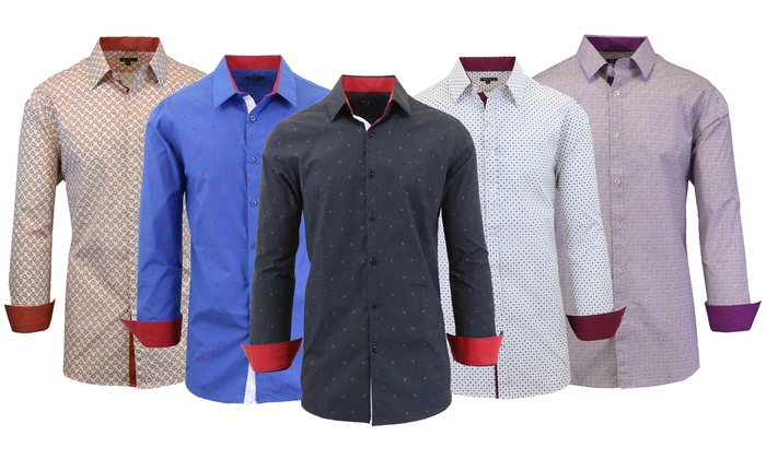 Men's Printed Dress Shirt with Contrast Inner Collar and Cuffs