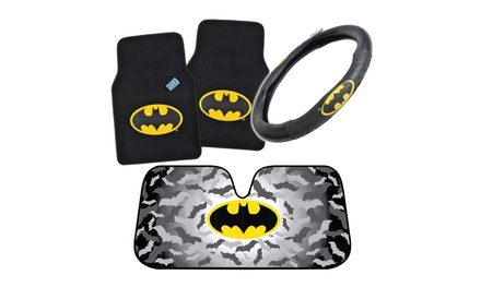 Batman Interior Car Accessories (Carpet Floor Mats, Steering Wheel Cover Or Folding Sun Shade)