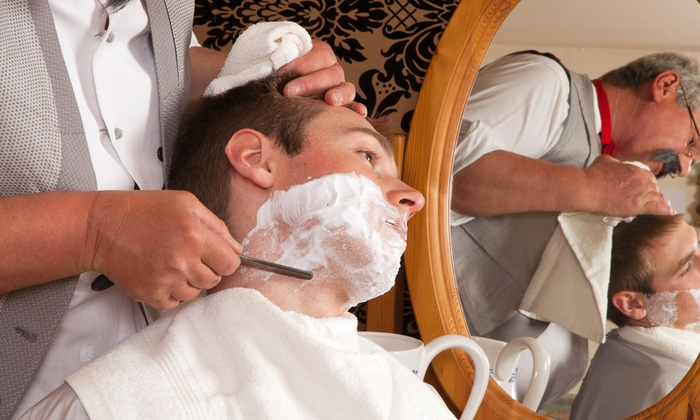 MENS SPA - Men's Spa: One or Two Men's Haircuts with Hot-Towel Shave and Facial at MENS SPA (Up to 62% Off)