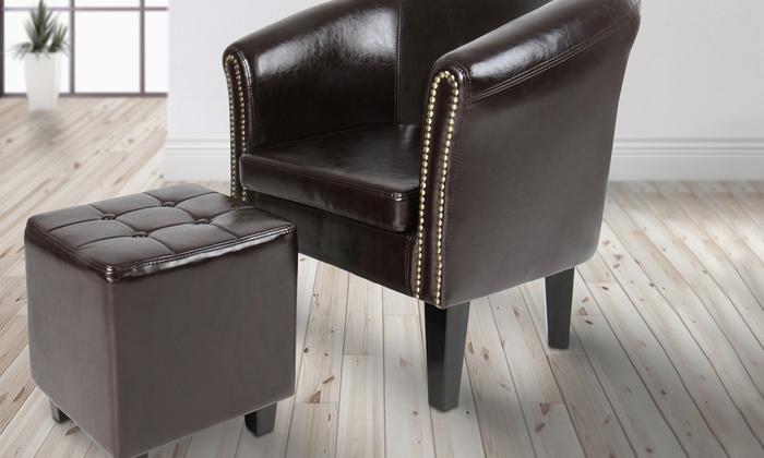 Pleasant Tot 10 Op Chesterfield Fauteuil Met Poef Groupon Producten Lamtechconsult Wood Chair Design Ideas Lamtechconsultcom