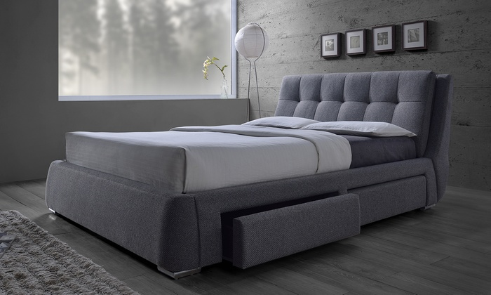 diana fabric upholstered storage bed frame king canada gray drawer