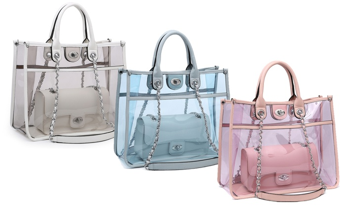 61de247c94d9 MK Belted Collection Transparent Handbag and Crossbody Set | Groupon