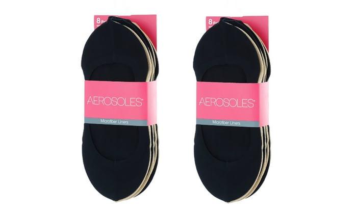 Women Aerosoles Microfiber Black Shoe Liners  6 Pair Size 9-11