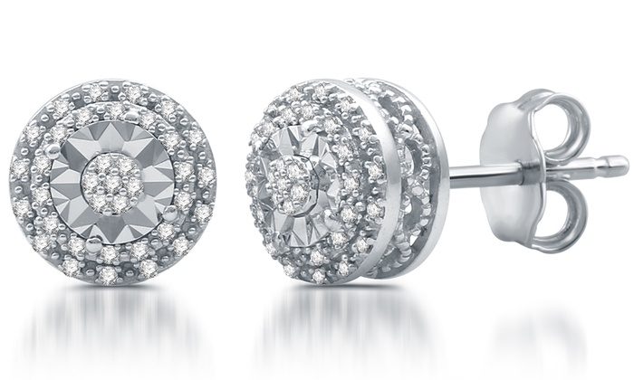 1 10 Cttw Diamond Cer Stud Earrings In Sterling Silver By Decarat