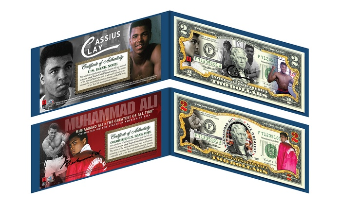Muhammad Ali Colorized $2 Bills