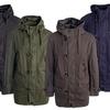 Men's Double-Closure Cotton Parka Jacket with Hood