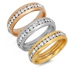 Cubic Zirconia Tri-Color Stackable Stainless Steel Ring Set (3-Piece)