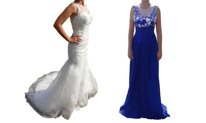 Groupon Goods Global GmbH: Robe de mariée blanche ou robe longue de soirée bleue