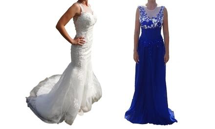 Witte bruidsjurk of lange blauwe avondjurk