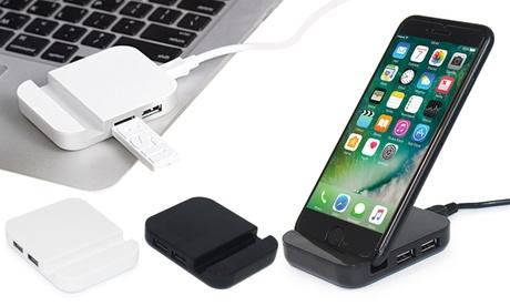 1 o 2 soportes para teléfono con 4 puertos USB
