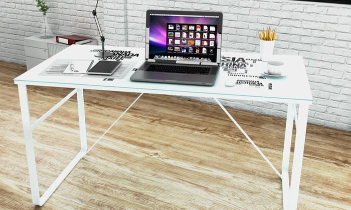 Colorado bureau pieds en verre trempé avec plateau laqué blanc