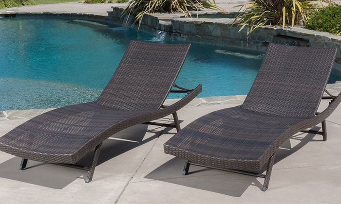 Wicker chaise lounges set of 2 groupon goods for Brown wicker chaise lounge