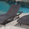 Outdoor Brown Wicker Chaise Lounges (Set of 2)