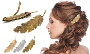 Barrette à cheveux plume