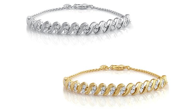 1/10 CTTW Diamond Weave Bracelet in Sterling Silver