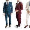 L & S France Men's Slim Fit One Button Suits (2-Piece)