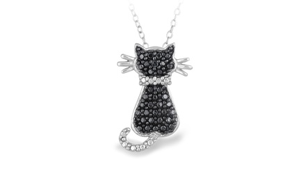 Sterling Silver Black Diamond Accent Cat Necklace