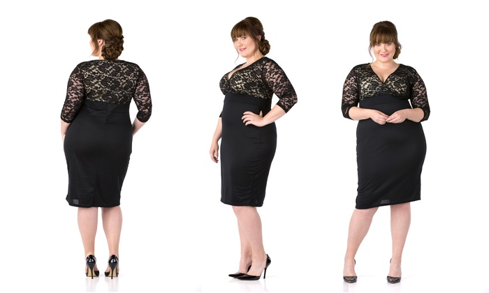 Womens Plus Size Black Cocktail Dress With Lace Bodice Size 3x