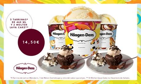 Paga 1€ y consigue 3 tarrinas de 460ml Häagen-Dazs con 2 unidades de Molten Lava cake por 14,50€