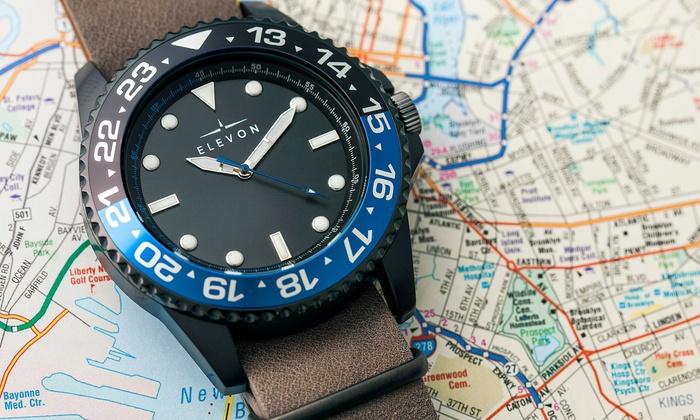 0cc0ea1fd Elevon Dumont Pilot Rotating Bezel Genuine Leather Watch   Groupon