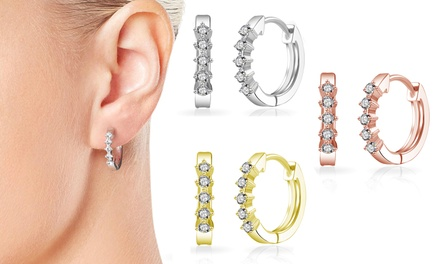 One, Two, or Three Pairs of Philip Jones Hoop Earrings with Crystals from Swarovski®