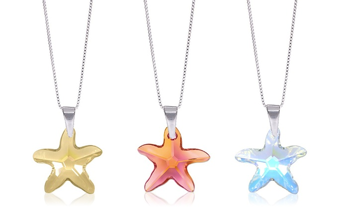 Swarovski elements star pendant groupon goods starfish pendant with swarovski elements in sterling silver starfish pendant with swarovski elements in sterling aloadofball Image collections
