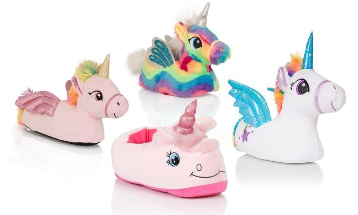 girls 39 unicorn slippers groupon. Black Bedroom Furniture Sets. Home Design Ideas