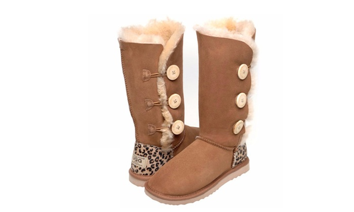 c08500a1eb1 $119 for Australian Leather Three-Button Cheetah Print Heel UGG Boots  (Don't Pay $299)