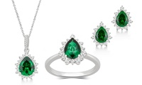 Green Emerald and Sapphire 3-Piece Set or Separates in Sterling Silver by L'ARTISTE
