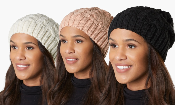 fa689c483755d1 Women's Cold Weather Cable Knit Soft Slouchy Beanie Hat | Groupon