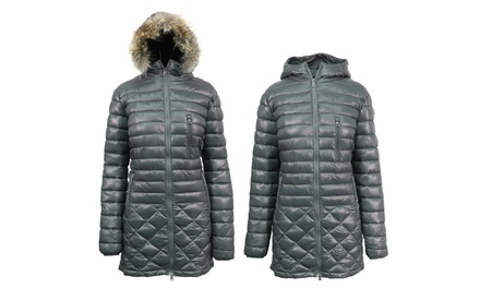 Spire by Galaxy Women's Puffer Jacket with Detachable Trim