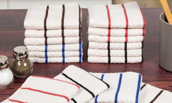 lavish home chevron kitchen towel set 8 pc or washcloth set 16 - Kitchen Towel Sets