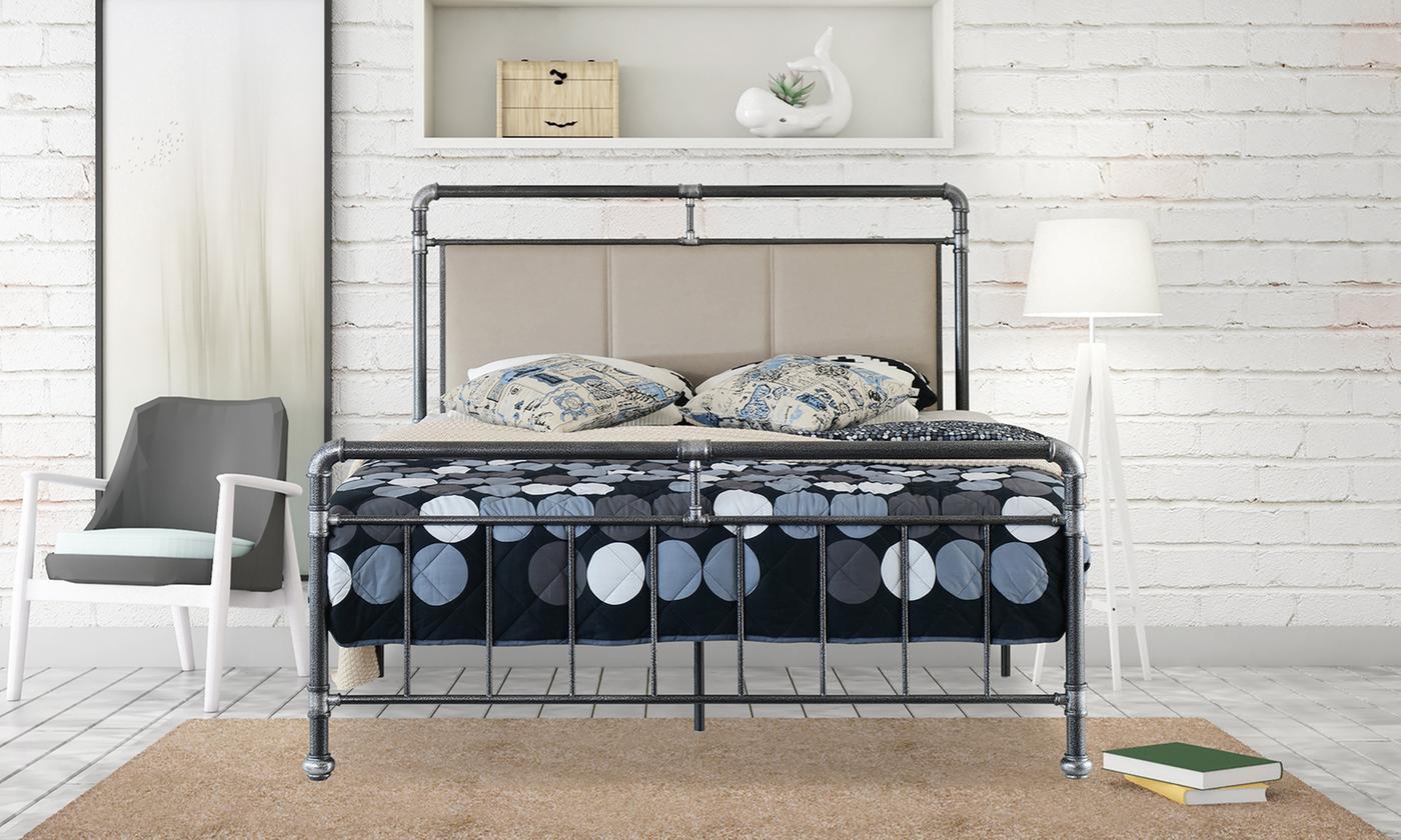Arcadia Metal Bed with Fabric Headboardand Optional Tobe Mattress (£299)