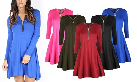 Long Sleeve ZipFront Swing Dress